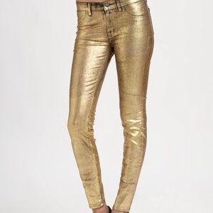J Brand Super Skinny Mid Rise Jeans Metallic Gold